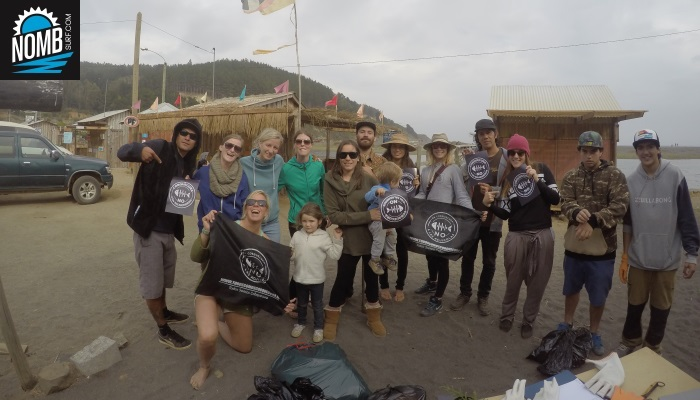The NOMB Surfteam joining a local group to clean the beaches in Buchupureo, Chile