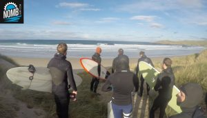 Our surftrip crew about to jump into the water at the beautiful Irish beach
