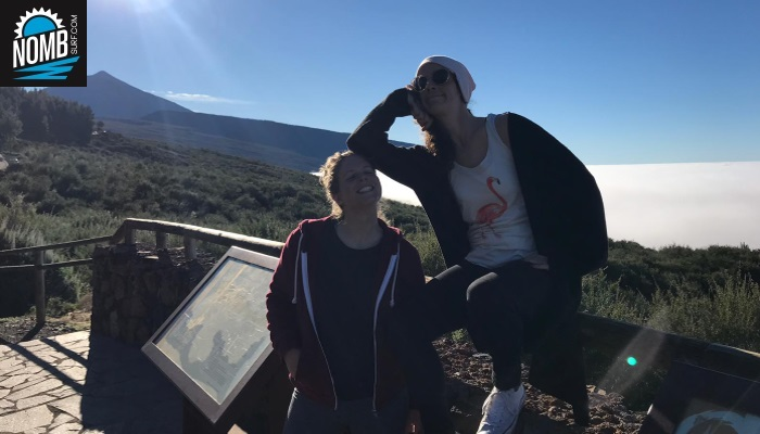 Campchef Lindis and NOMB Surfer Luzia enjoying the view at the Teide and the mar de nubes