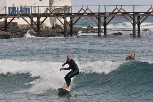 Clean shoulder in a reefbreak in Lanzarote